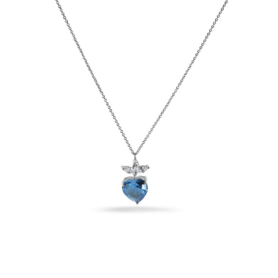of december chain necklace class blue light pendants graduation copy cz birthstone sterling silver pendant heart