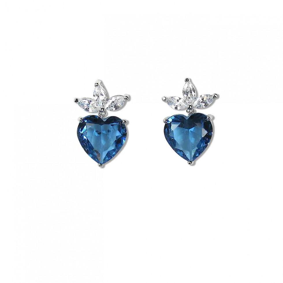 Heart Earrings Light Blue