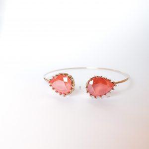 Upside drop armbånd med dråpeformeder Swarovski krystaller i fargen Laquered Coral